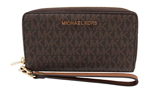 "Size Approximate measurements: 7""W X 4""H X 1""D. MK signature coated canvas with saffiano leather trim and gold-tone hardware Zip-around closure. MK logo lettering hardware. Removable wrist strap, 6"". Interior: Zip coin pocket, Six credit card slots, ..."