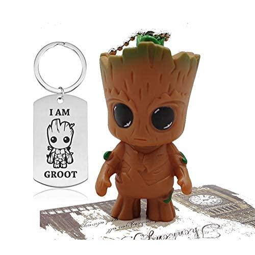 Paquete de 2 llaveros Marvel Hero Accesorios Mochila Regalos Iron Man Spider Man Baby Groot Figura de acción Llaveros, Bebé grande, Talla única
