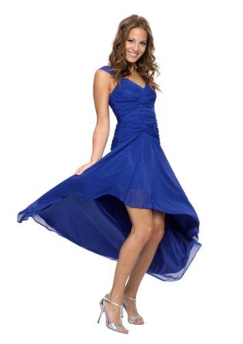Astrapahl Damen Cocktail Kleid mit schönen Raffungen, Knielang, Einfarbig, Gr. 42, Blau