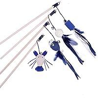 4点セット 猫おもちゃ おい小動物 猫 ネズミ ボールなど おもちゃ 羽のおもちゃ鈴付き 釣り竿天然木材と羽と綿麻 青