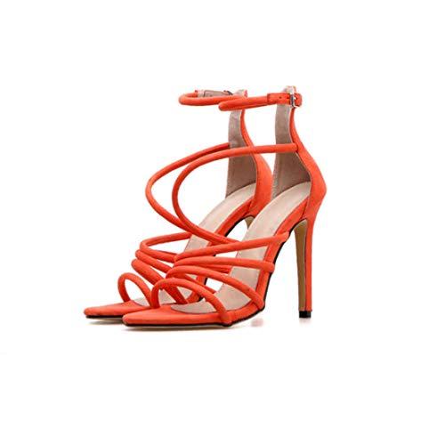 BZBZBZ Zapatos de la Bomba del Estilete de 11,5 cm Ankel Correas Vestido de Las Sandalias del Partido del Dedo del pie Abierto los Zapatos OL Hueco de Tenis de tamaño 35-40 EU,Naranja,EU35