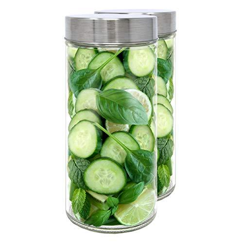 Luxury & Grace Set 2 Vorratsdosen aus Glas, 1,19 L (22,9x10 cm), Behälter mit Schraubverschluss.