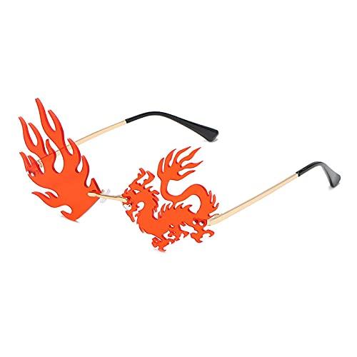 ShZyywrl Gafas De Sol Gafas De Sol Sin Montura con Forma De Dragón Y Fénix para Mujer, Gafas Únicas Vintage A La Moda, Lentes Transparentes para El Océano, Gaf