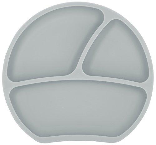 Kindsgut Teller, Esslernteller aus Silikon, guter Halt und rutschfest dank Saugnapf, frei von BPA und FDA-konform, Taupe
