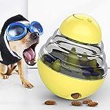 楽しいタンブラーペットおもちゃ2個セット かみ傷に強いペットフードディスペンサーのおもちゃ 球形の取り外し可能な犬の知育玩具 (Color : Yellow)