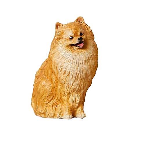 Lindo cachorro de perro de Pomerania Estatua Animal simulación figura de resina de artesanía esculturas for 1/6 Soldado estatua del regalo de cumpleaños del jardín estatuas decoración del dormitorio d