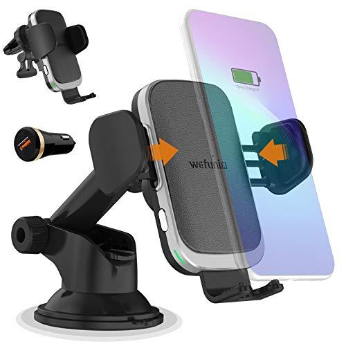 Wefunix 15W Qi Cargador Inalámbrico Coche Carga Rápida Sensor Automático para LG V50/G8, iPhone 12 Mini 11 Pro XS Max XR X SE, Samsung Galaxy S20 S10 S9 Note 20/10/9/8,Huawei P30 Pro,Xiaomi Mi 11/10/9