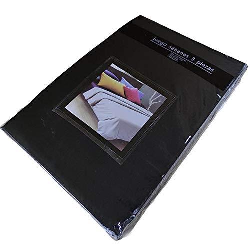 TIENDA EURASIA® Juego 3 Sábanas de Cama 90cm - Microfibra Transpirable - Tacto Suave (Cama 90-90x190/200cm, Negro)