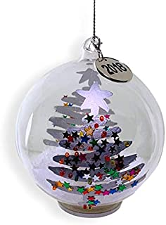 BANBERRY DESIGNS Dated Christmas Ball Ornament - 2018 Charm with a Whimsical Xmas Tree Design - LED Light Up Globe Ornament Set