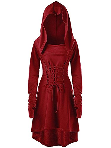 Gemijack Womens Renaissance Costumes Hooded Robe Lace Up Vintage Pullover High Low Long Hoodie Dress Cloak Red