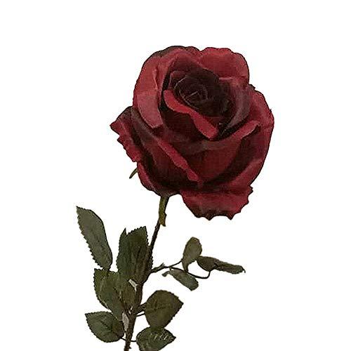 display08 Künstliche Rosen, Seide, für Zuhause, Hochzeit, Bankett, Geburtstag, Party, Dekoration, 1 Stück dunkelrot