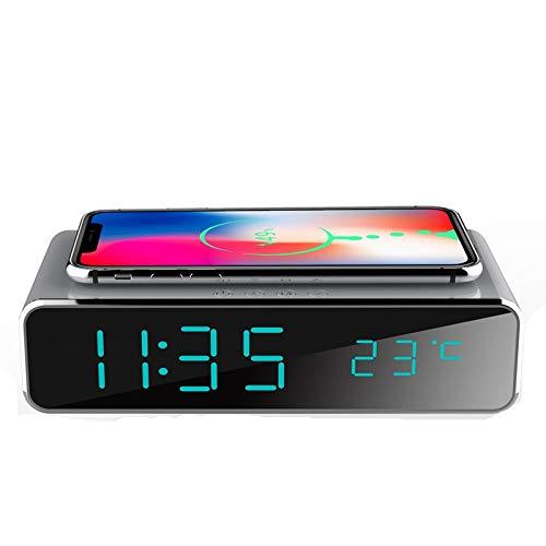 Bayue Elektrische led-wekker met telefoon, draadloze oplader, desktop-digitale thermometer, klokgever, HD-spiegel-klok met tijd-geheugen