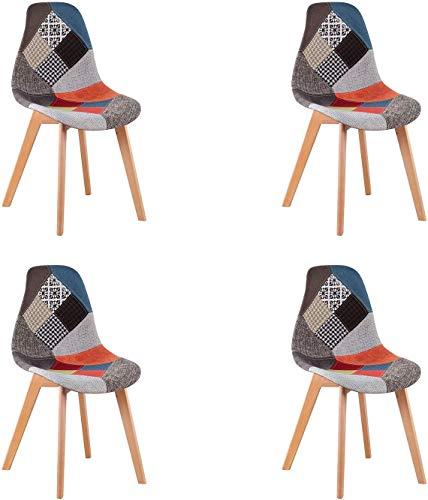 WV LeisureMaster Set di 4 Sedie da Pranzo Patchwork Sedie da Salotto Stile Scandinavo Sedie Laterali Ideali per Soggiorno, Sala da Pranzo, Camera da Letto, Ufficio, Bar, ECC, Rosso