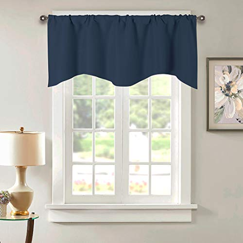 """vctops Solid Blackout Curtain Valance for for Kitchen/Bedroom Rod Pocket Scalloped Valance Short Curtain Panels (52""""x18"""",Navy)"""