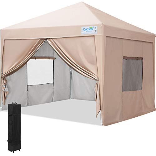 Quictent Privacy 10x10 Ez Pop up Canopy Tent Portable Gazebo with Sidewalls and Mesh Windows Waterproof (Beige)