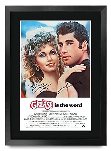HWC Trading Grease A3 Incorniciato Firmato Regalo Visualizzazione delle Foto Print Immagine Autografo Stampato per Olivia Newton John John Travolta Gli Appassionati di Cinema
