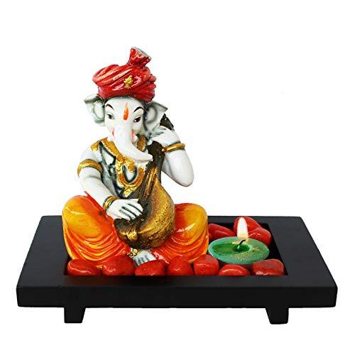 Indian Decor & Attire Con Sittar jugando al ídolo de Ganesha con bandeja de madera, piedra naranja y diya verde para decoración de lujo y exhibiciones de oficina, figura multicolor