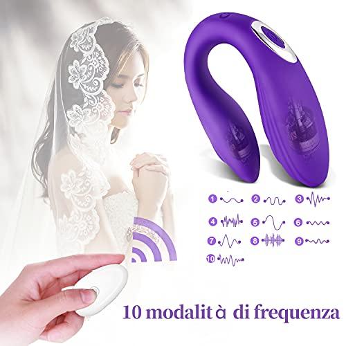 Massaggiatori portatile con telecomando, 10 Modalità di Massaggio, Ricarica USB, Silicone Medico, Impermeabile