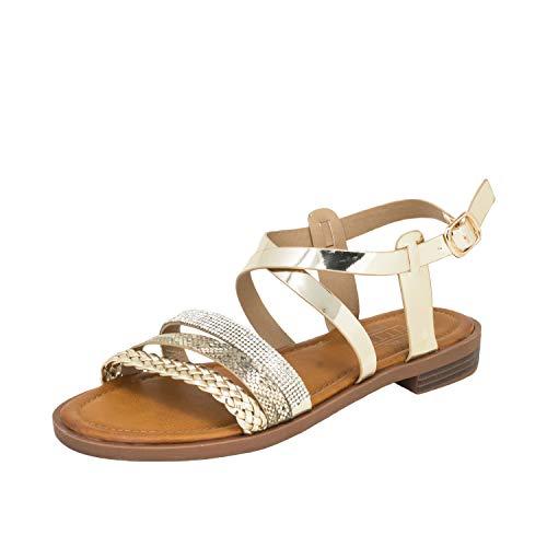 Fitters Footwear That Fits Damas Sandalia Michelle PU Sandalias con Hebillas y Tiras Trenzadas (44 EU, Dorado)