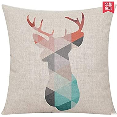Elephant Deer Mountains Cotton Linen Throw Pillow Case Cushion Cover Home Sofa Decorative 18 X 18 Inch (5) (6)