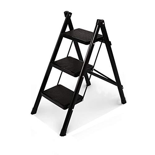 ZWYSL Escalera Plegable Ligero Escalera del Taburete Antideslizante Subir Alto De Inicio Biblioteca Cocina Oficina Sillas Recepción (Color : Negro)