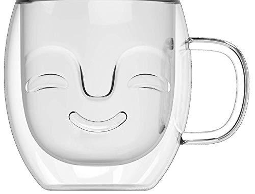Yeppers 390ml No.1 doppelwandige Tasse mit Gesicht geschwungen/Thermotassen/Glastassen/Teetassen/Kaffeetassen mit Schwebeeffekt by Feelino
