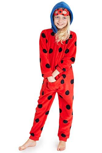 Disney Miraculous Ladybug Pigiama Bambina Intero, Pigiamone in Pile con Cappuccio E Mascherina per Dormire 2-10 Anni (Rosso, 6-7 Anni)