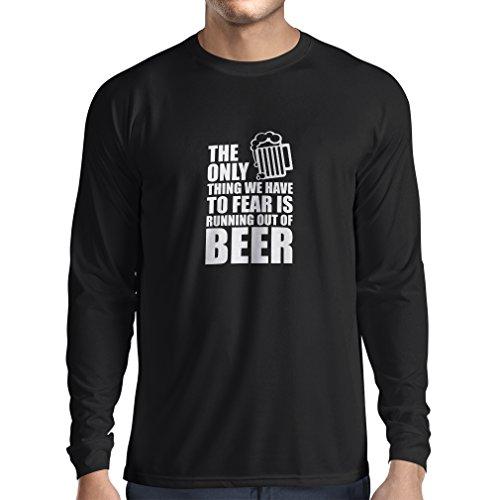 Camiseta de Manga Larga para Hombre Tener Miedo de no Tener una Cerveza - para la Fiesta, Bebiendo Camisetas (Small Negro Fluorescente)
