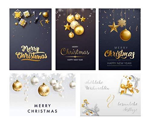 5 Premium Weihnachtskarten Klappkarten 12x18cm mit 5 edlen weißen Umschläge - rechteckige Grußkarten für Weihnachten Karten Postkarten Weihnachtskarten für Weihnachtsgrüsse
