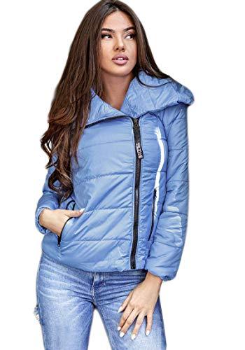 Selente #Fashionista Damen Jacke als praktische Übergangsjacke/leichte Winterjacke/Kurze Steppjacke in modischem Design ideal für Frühling und Herbst, Modell 4 Hellblau, Größe S