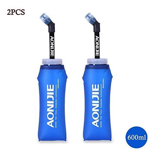 Botella blanda comprimible Docooler con pajita, sin BPA, para corredores, 600ML(1PCS), 600 ml