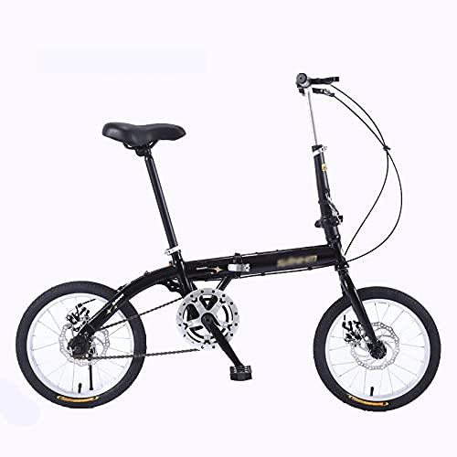 KAUO Bicicletas Plegables De 20 Pulgadas Bicicleta Ligera para Hombres Y Mujeres MTB Doble V De Freno para Adultos para Hombres Mujeres Estudiantes Y Viajeros Urbanos Resistente Y Ligero,Negro