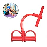 AETO 2019 Corde de Tension multifonctionnelle,4 Tube Jambe Exerciseur Pull Cordes Bandes Yoga Fitness Pied Pédale Pull Cordes Sit-up Bodybuilding Expander,pour Gym à Domicile (Rouge)