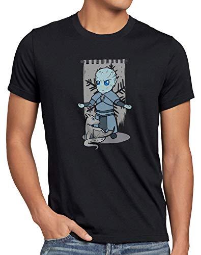 style3 Re della Notte T-Shirt da Uomo Chibi estranei White Walkers, Dimensione:L, Colore:Nero
