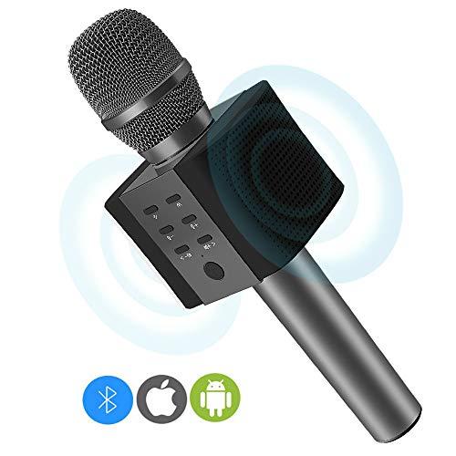 Micrófono Inalámbrico Karaoke Bluetooth 4.2 Portátil, 2x5W Altavoces para Karaoke, Batería de 2000mAh, Color Negro