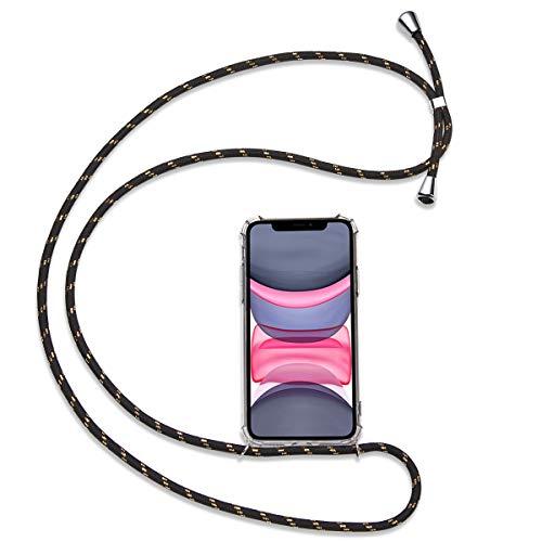 Olliwon Cadena de teléfono compatible con iPhone 11 Pro Max, funda de TPU transparente con banda para iPhone 11 Pro Max 6,5 pulgadas, carcasa de silicona antigolpes, color negro y dorado