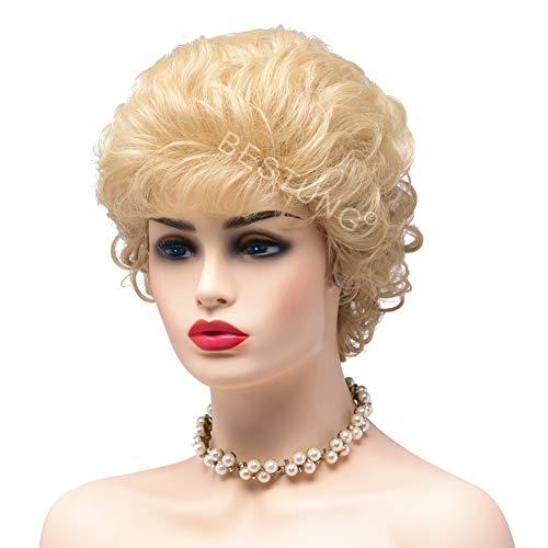 BESTUNG Mesdames Cendré Blonde Perruques pour Femmes Court Curly Synthétique Complet Cheveux Perruques Profonde Ondulée Moelleux Cosplay Costume Perruque