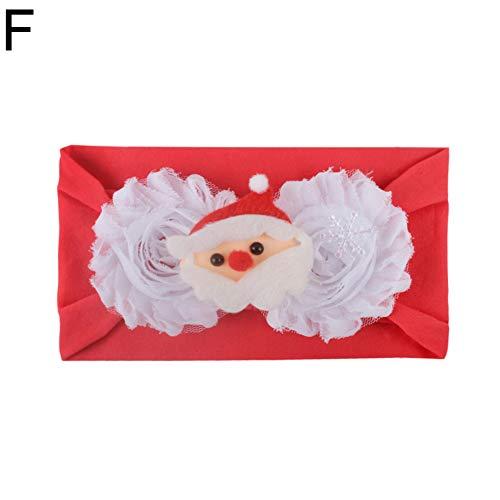 E-House Kerstmis leveringen Santa bloem patchwork baby elastische brede haarband hoofdband hoofdband A F