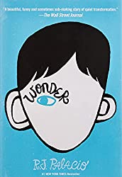 Book Cover for Wonder: blue book cover with black and white face with one blue eye with the word Wonder written over the eye