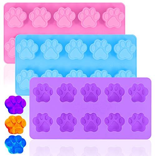 DanziX, 3 stampi in silicone antiaderenti per cioccolato, caramelle, gelatine, cubetti di ghiaccio, per cani e gatti, viola, blu e rosa