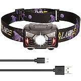 JUCERS Stirnlampe LED USB Wiederaufladbar, Wasserdicht Leichtgewichts stirnlampen Mini Kopflampe Perfekt fürs Laufen, Joggen, Angeln, Campen und Radfahren, für Kinder und mehr