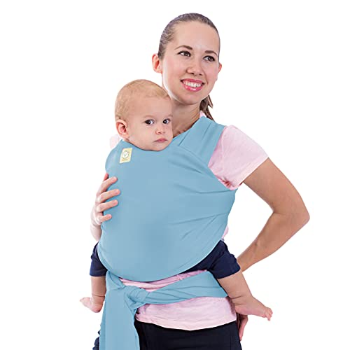 Baby Wrap Carrier - All in 1 Stretchy Baby Sling - Baby Carrier Sling - Baby Carrier Wraps - Baby Carriers for Newborn, Infant - Baby Holder Straps - Baby Slings - Baby Sling Wrap (Baby Blue)