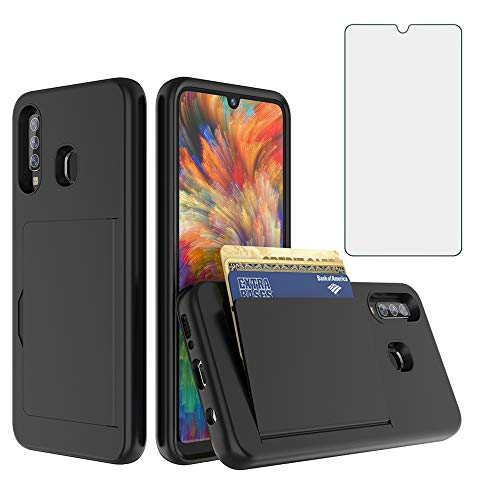 Phone Case for Samsung Galaxy A20 A30 A50 A30S A50S with Tempered Glass Screen Protector Cover and Credit Card Cell Accessories Glaxay M10s A 20 30 50 50s 30s S20 S50 20A 50A Cases Women Men Black