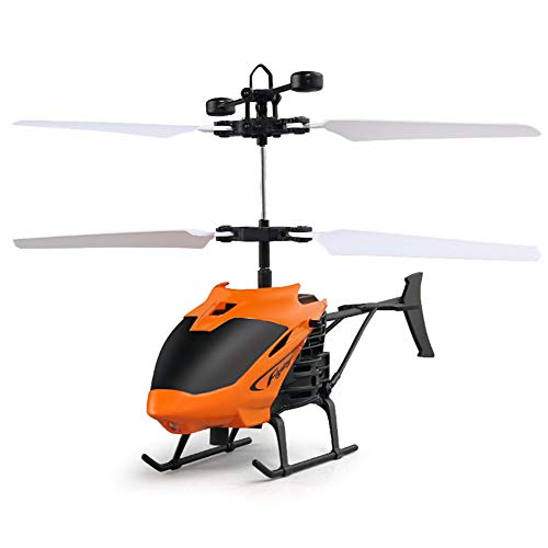 szkn Kid Teenager Toys Flying Mini RC Infraed Induction Helicopter Aircraft LED Flashing Light Orange