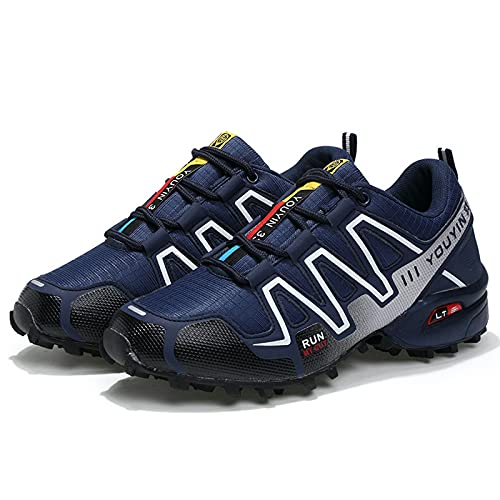 AGYE Road Cycling Shoes Men, MTB and Indoor Bike Shoes Non-Slip Breathable Outdoor Casual sports Sneakers,Blue-43