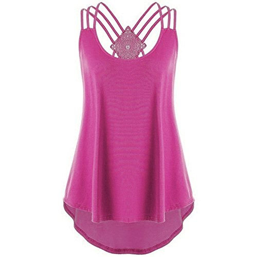 Summer Tops for Women 2020 Women Shirts Teen Girls Sleevelss Casual Summer Stripe Lace Up Cami Tank Tops Vest Blouse Hot Pink