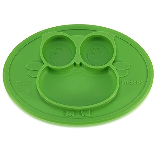 Kirecoo Baby Placemat Owl Round Silicone Suction Feeding Plate for Children, Kids, Toddlers,Kitchen Dining Table,Restaurant with Built in Plates and Bowl (Green)