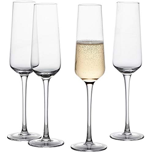 GoodGlassware Champagne Flutes (Set Of 4) 8.5 oz – Tall, Crystal Clear Clarity, Classic and Seamless Tower Design - Lead Free Glass, Dishwasher Safe, Quality Sparkling Wine Stemware Set