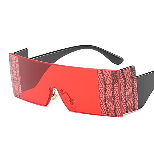 Personalidad Gafas De Sol De Piel De Serpiente Sin Marco Siameses Hombres Y Mujeres Gafas De Sol De Personalidad De Vanguardia Gafas De Protección Solar Al Aire Libre Patas Negras Película Roja