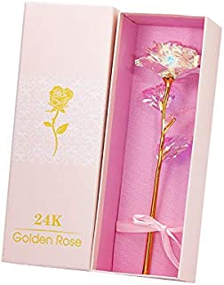 24K Galaxy Rose with Gold foil Forever Gifts for Her Valentine's Day Anniversary Wedding,Metal Holder, Rose Flower Tableto...